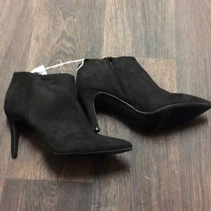 Black pointed toe suede heel booties
